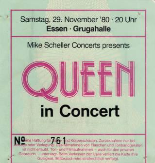 Ticket stub - Queen live at the Grugahalle, Essen, Germany [29.11.1980]