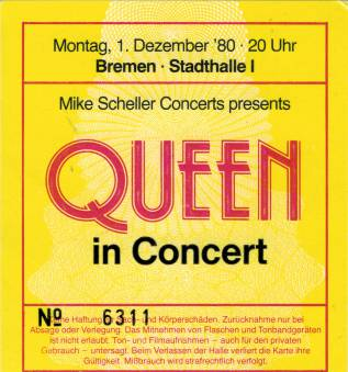 Ticket stub - Queen live at the Stadthalle, Bremen, Germany [01.12.1980]