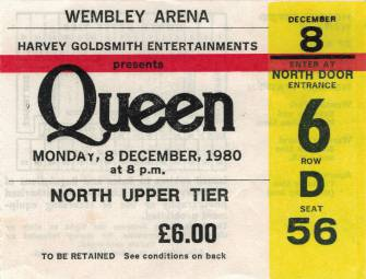 Ticket stub - Queen live at the Wembley Arena, London, UK [08.12.1980]