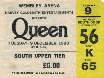 Ticket stub - Queen live at the Wembley Arena, London, UK [09.12.1980]
