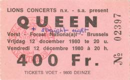 Ticket stub - Queen live at the Forest National, Brussels, Belgium [12.12.1980]