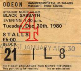 Ticket stub - Brian May live at the Hammersmith Odeon, London, UK (with Black Sabbath) [21.01.1981]