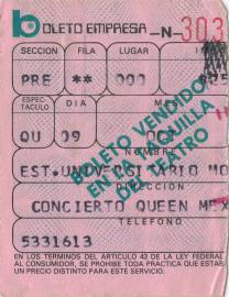 Ticket stub - Queen live at the Estadio Universitario, Monterrey, Mexico [09.10.1981]