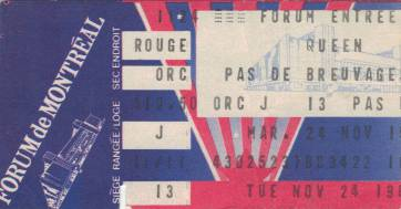 Ticket stub - Queen live at the Forum, Montreal, Canada [24.11.1981]