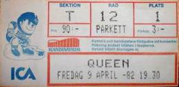 Ticket stub - Queen live at the Scandinavium, Gothenburg, Sweden [09.04.1982]