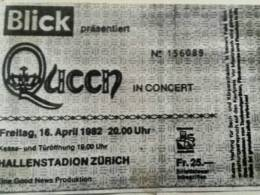 Ticket stub - Queen live at the Hallenstadion, Zurich, Switzerland [16.04.1982]