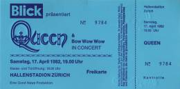 Ticket stub - Queen live at the Hallenstadion, Zurich, Switzerland [17.04.1982]