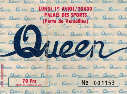 Ticket stub - Queen live at the Palais Des Sports, Paris, France [19.04.1982]