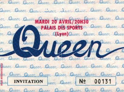 Ticket stub - Queen live at the Palais Des Sports, Lyon, France [20.04.1982]