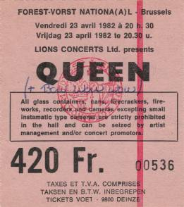 Ticket stub - Queen live at the Forest National, Brussels, Belgium [23.04.1982]