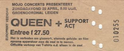 Ticket stub - Queen live at the Groenoordhallen, Leiden, The Netherlands [25.04.1982]