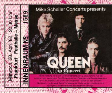 Ticket stub - Queen live at the Festhalle, Frankfurt, Germany [28.04.1982]