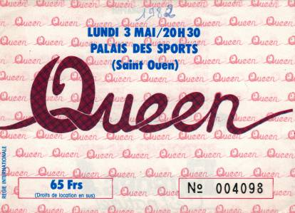 Ticket stub - Queen live at the Palais Des Sports, Paris, France [03.05.1982]