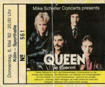 Ticket stub - Queen live at the Sporthalle, Cologne, Germany [06.05.1982]