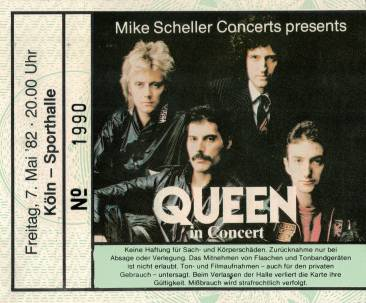 Ticket stub - Queen live at the Sporthalle, Cologne, Germany [07.05.1982]