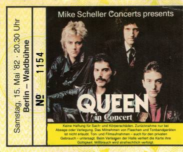 Ticket stub - Queen live at the Waldbühne, Berlin, Germany [15.05.1982]