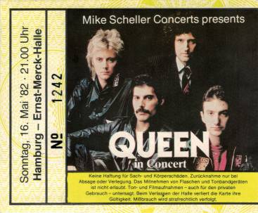 Ticket stub - Queen live at the Ernst-Merck Halle, Hamburg, Germany [16.05.1982]