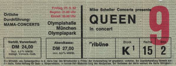 Ticket stub - Queen live at the Olympiahalle, Munich, Germany [21.05.1982]