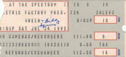 Ticket stub - Queen live at the The Spectrum, Philadelphia, PA, USA [24.07.1982]