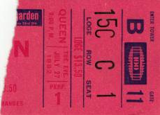 Ticket stub - Queen live at the Madison Square Garden, New York, NY, USA [27.07.1982]
