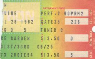 Ticket stub - Queen live at the Madison Square Garden, New York, NY, USA [28.07.1982]