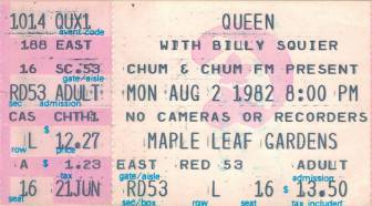 Ticket stub - Queen live at the Maple Leaf Gardens, Toronto, Canada [02.08.1982]