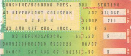 Ticket stub - Queen live at the Riverfront Coliseum, Cincinnati, OH, USA [07.08.1982]