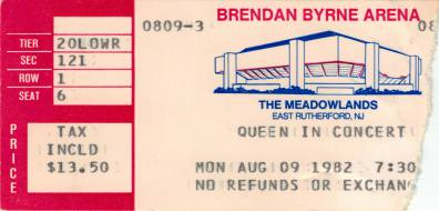 Ticket stub - Queen live at the Brendan Byrne Arena, East Rutherford, NJ, USA [09.08.1982]
