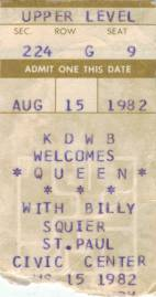Ticket stub - Queen live at the Civic Centre, St. Paul, MN, USA [15.08.1982]