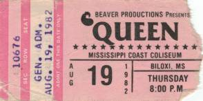 Ticket stub - Queen live at the Mississippi Coast Coliseum, Biloxi, MS, USA [19.08.1982]