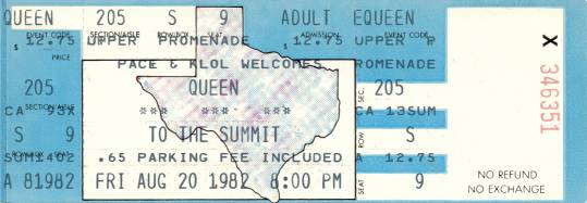 Ticket stub - Queen live at the Summit, Houston, TX, USA [20.08.1982]