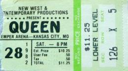 Ticket stub - Queen live at the Kemper Arena, Kansas City, MO, USA [28.08.1982]