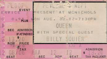 Ticket stub - Queen live at the McNichols Arena, Denver, CO, USA [30.08.1982]