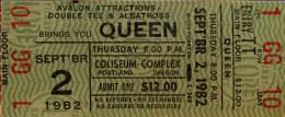 Ticket stub - Queen live at the Coliseum, Portland, OR, USA [02.09.1982]