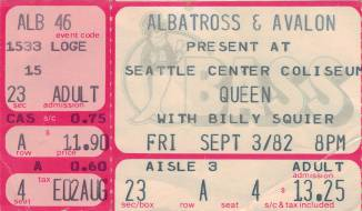 Ticket stub - Queen live at the Coliseum, Seattle, WA, USA [03.09.1982]