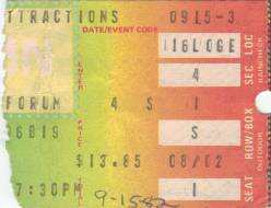 Ticket stub - Queen live at the Forum, Inglewood, CA, USA [15.09.1982]