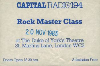 Ticket stub - Brian May live at the Duke Of York's Theatre, London, UK (Capital radio Guitar masterclass) [20.11.1983]