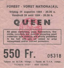 Ticket stub - Queen live at the Forest National, Brussels, Belgium [24.08.1984]