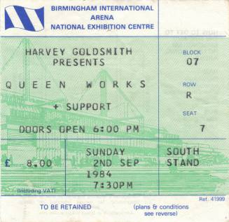 Ticket stub - Queen live at the National Exhibition Centre, Birmingham, UK [02.09.1984]