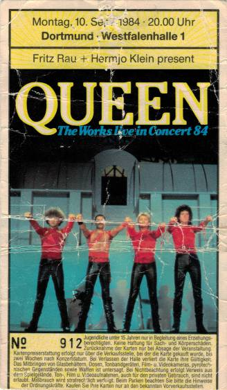 Ticket stub - Queen live at the Westallenhalle, Dortmund, Germany [11.09.1984]