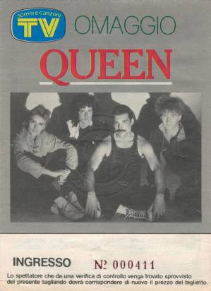 Ticket stub - Queen live at the Sportspalace, Milan, Italy [14.09.1984]