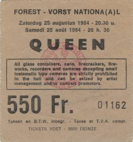 Ticket stub - Queen live at the Forest National, Brussels, Belgium [21.09.1984]
