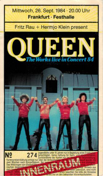 Ticket stub - Queen live at the Festhalle, Frankfurt, Germany [26.09.1984]