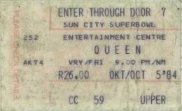 Ticket stub - Queen live at the Super Bowl, Sun City, Bophuthatswana [05.10.1984]