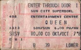 Ticket stub - Queen live at the Super Bowl, Sun City, Bophuthatswana [07.10.1984]