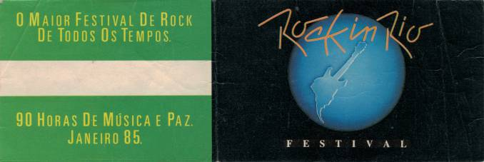 Ticket stub - Queen live at the Barra of Tijuca (Rock In Rio), Rio De Janeiro, Brazil [11.01.1985]