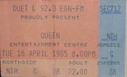 Ticket stub - Queen live at the Sports & Entertainments Centre, Melbourne, Australia [16.04.1985]