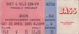 Ticket stub - Queen live at the Sports & Entertainments Centre, Melbourne, Australia [20.04.1985]