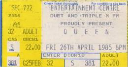 Ticket stub - Queen live at the Entertainments Centre, Sydney, Australia [26.04.1985]