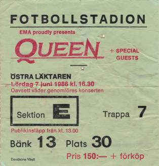 Ticket stub - Queen live at the Rasunda Fotbollstadion, Stockholm, Sweden [07.06.1986]